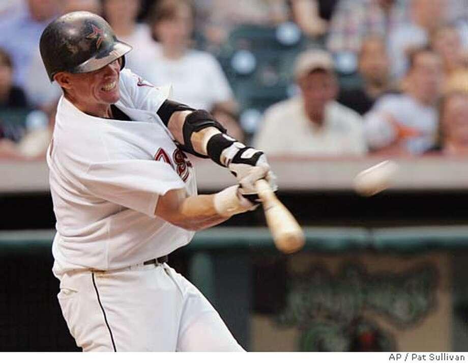 Houston Astros Craig Biggio hits a two-run home run in the sixth inning as the Astros beat the San Francisco Giants, 4-1, Saturday, May 14, 2005 in Houston. (AP Photo/Pat Sullivan) Photo: PAT SULLIVAN