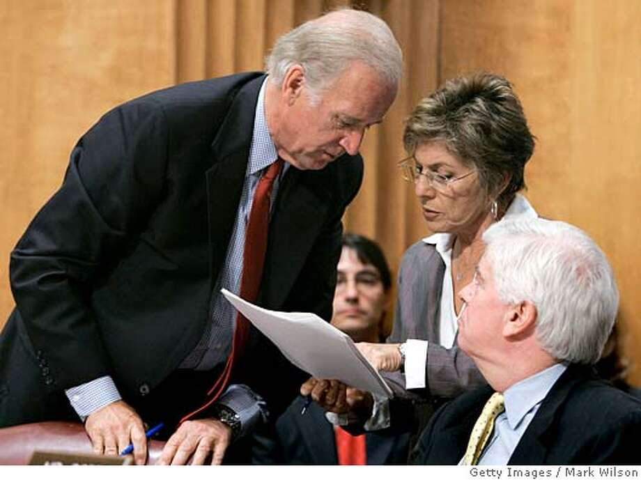 WASHINGTON - MAY 12: (L to R) Sen. Joseph Biden (D-DE), Sen. Barbara Boxer (D-CA) and Sen. Christopher Dodd (D-CT) talk during a Senate Foregn Relations Committee hearing on Capitol Hill May 12, 2005 in Washington DC. The committee is debating and will vote on the embattled nomination of John Bolton to be U.S. ambassador to the United Nations. (Photo by Mark Wilson/Getty Images) *** Local Caption *** Richard Lugar;Barbara Boxer;Christopher Dodd Photo: Mark Wilson