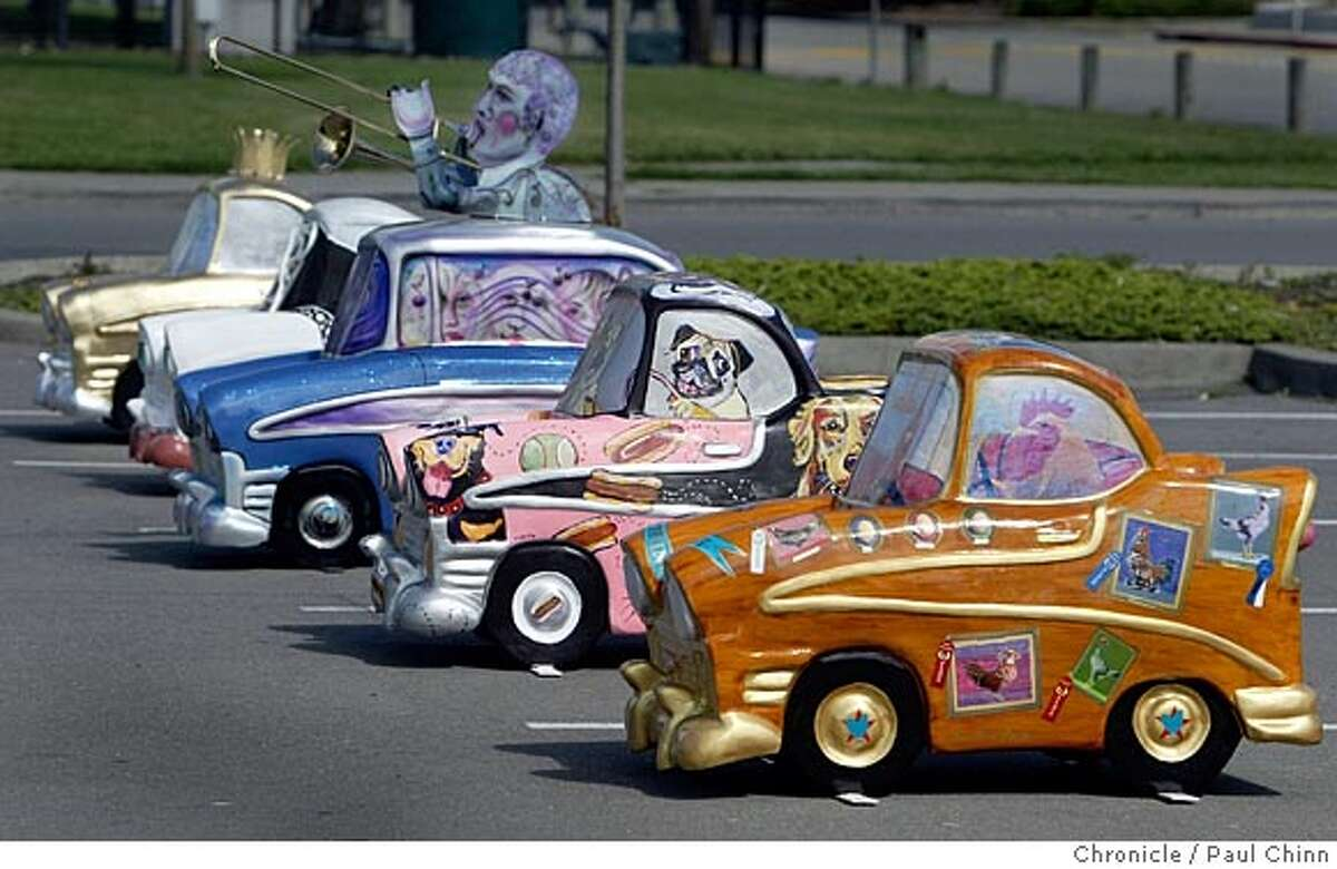Several artists have already submitted their creations. Art cars and classic cars at the Boys and Girls Club on 4/29/05 in Petaluma, Calif. Several artists have transformed miniature vintage cruiser car casts into public showpieces as part of
