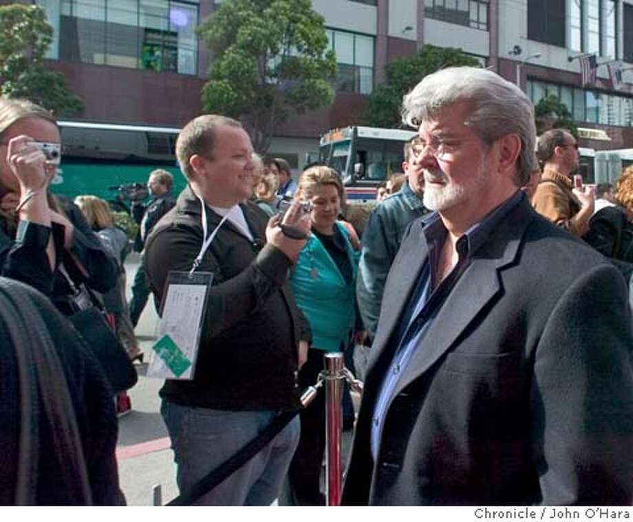 """Metreon Theater, Mission and 4th Sts.  George Lucas on the red carpet, talked with fans and the press  A showing of , """"Revenge of the Sith"""" George Lucas talks to fans and press. This is a fund raiser event.  ( I feel into this event and have no specific info).Jo9hn O'hara Photo: John O'hara"""