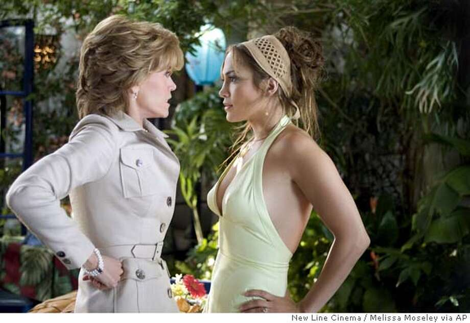 "In this photo provided by New Line Cinema, Charlotte ""Charlie"" Honeywell (Jennifer Lopez) meets her soon to be mother-in-law Viola Fields (Jane Fonda) who thinks no girl is good enough for son in ""Monster In Law."" (AP Photo/New Line Cinema/Melissa Moseley) Photo: MELISSA MOSELEY"