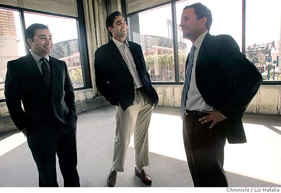 STRICTLY15_074_LH.JPG Jeff Worth (middle) and John Tashjian (right) of Centurion Partners, a real estate investment fund. They recently bought the Beacon building from Catellus. At right is Jessie Blout (check name spelling. This 20,000 sq. foot space is going to stem cell research administrative offices of California Institute for Regenerative (check spelling) Medicine. Shot in San Francisco on 5/11/05. Creditted to San Francisco Chronicle/Liz Hafalia Photo: Liz Hafalia