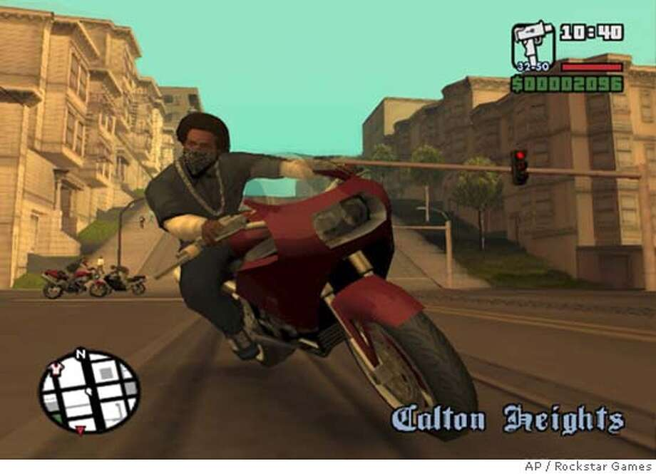 "This is a screen image from ""Grand Theft Auto: San Andreas"" video game from Rockstar Games. Several highly anticipated games, such as ""Grand Theft Auto: San Andreas"" and ""Half-Life 2,"" have fallen victim to copyright theft. Illegal, often incomplete versions have appeared on file-sharing networks, news groups and Web sites. (AP Photo/Rockstar Games) Ran on: 11-08-2004  A screen image from the Grand Theft Auto: San Andreas game. Datebook#Datebook#Chronicle#11/19/2004##Advance##0422451599"
