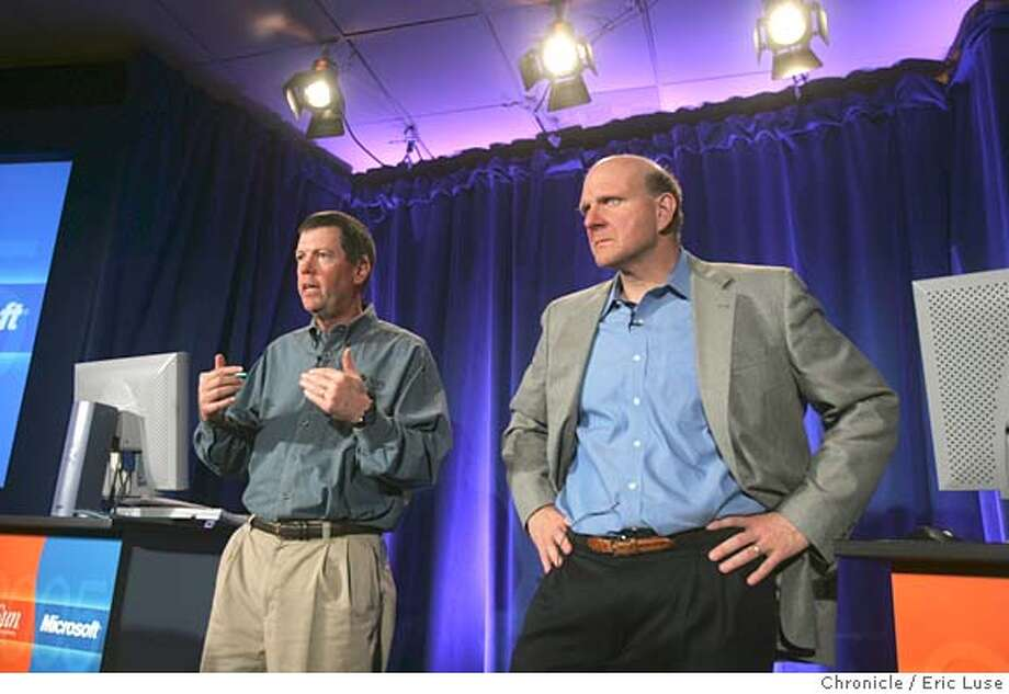 0156_sun14_el.JPG  Sun CEO Scott McNealy and Microsoft CEO Steve Ballmer will appear together to talk about the two giants' partnership  Event on 5/13/05 in Palo Alto. Eric Luse / The Chronicle MANDATORY CREDIT FOR PHOTOG AND SF CHRONICLE/ -MAGS OUT Photo: Eric Luse