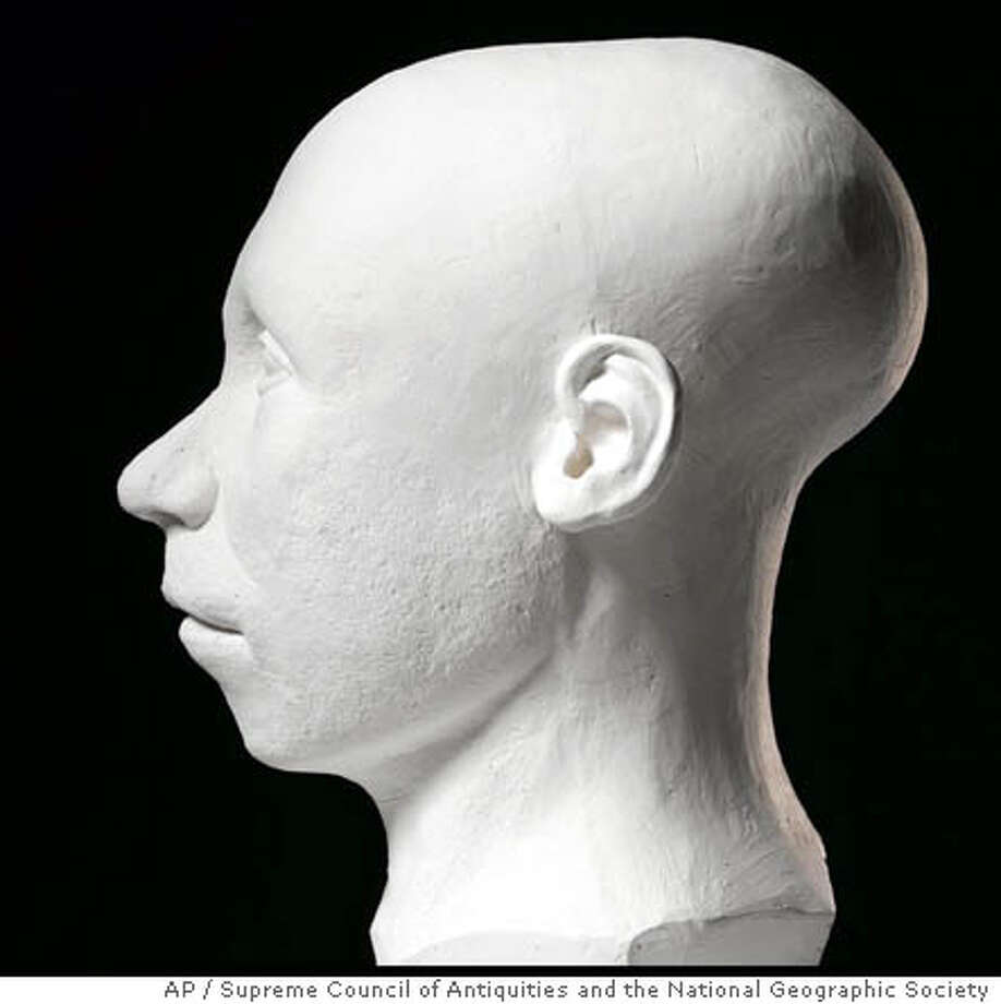 This photo released by the Supreme Council of Antiquities and the National Geographic Society on Tuesday May 10, 2005 shows a model of King Tutankhamun made by an American team based on facial reconstructions from CT scans of King Tutankhamun's mummy. Three teams of forensic artists and scientists, from France, the United States and Egypt, built models of the boy pharaoh's face based on some 1,700 high-resolution photos from CT scans of his mummy to reveal what he looked like the day he died nearly 3,300 years ago. The three teams worked separately in creating their reconstructions, the Americans and French working from a plastic skull, the Egyptians working directly from the CT scans. (AP Photo/Supreme Council of Antiquities and the National Geographic Society, HO) ** **
