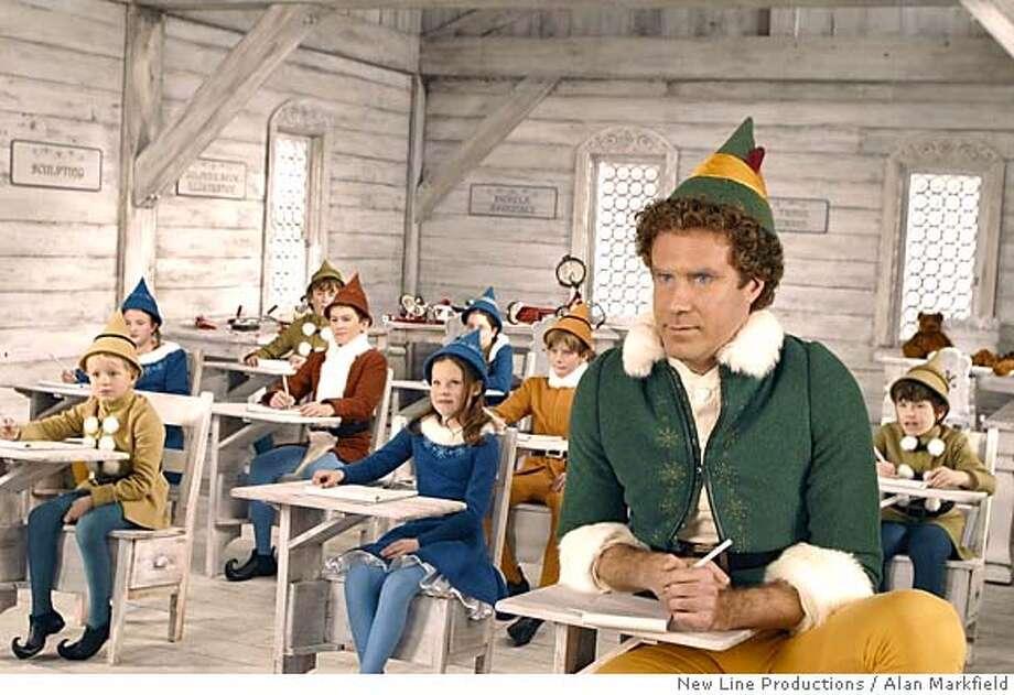 "Will Ferrell (right) stars as Buddy the Elf in New Line Cinemas "" Elf. "" (AP Photo/ Alan Markfield/New Line Productions ) CAT no crop Datebook#Datebook#Chronicle#11/16/2004##5star##0421469107 Photo: ALAN MARKFIELD"