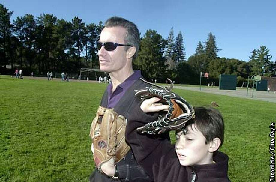 Portrait of Trip Hawkins and his son Willy,8, at Willy's Little League tryouts. Trip, of 3DO recently wrote a $10 million check to bail out the company. Photo by Gina Gayle/The SF Chronicle. Photo: GINA GAYLE