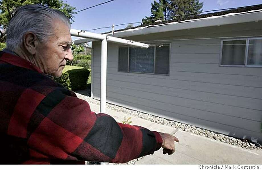 PLANEPARTS_016_mc.jpg  JIM MOURA AND HIS HOME IN DANVILLE, WHERE PARTS OF A FEDEX PLANE DROPPED OUT OF THE SKY AND LANDED. Mark Costantini/San Francisco Chronicle MANDATORY CREDIT FOR PHOTOG AND SF CHRONICLE/ -MAGS OUT Photo: Mark Costantini