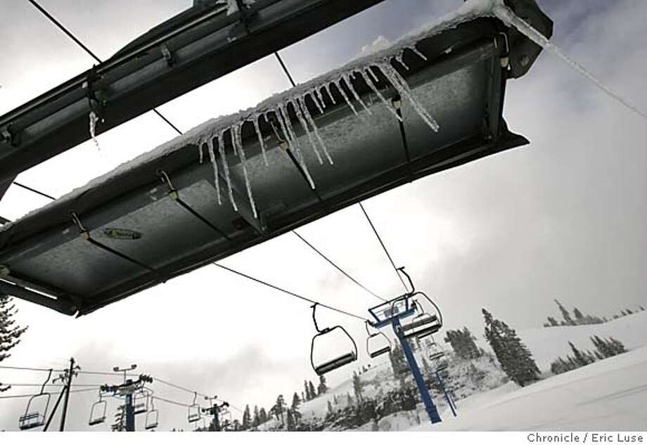 "0036_tahoe_el.JPG  Icesicle's (sp) hung on a ski lift at Donner Ski Ranch which will continue to stay open weekends only ""until there is no way to ski down,"" according to owner Marshall Tuttle. Snow fell in Tahoe. Event on 5/9/05 in Tahoe. Eric Luse / The Chronicle MANDATORY CREDIT FOR PHOTOG AND SF CHRONICLE/ -MAGS OUT Photo: Eric Luse"