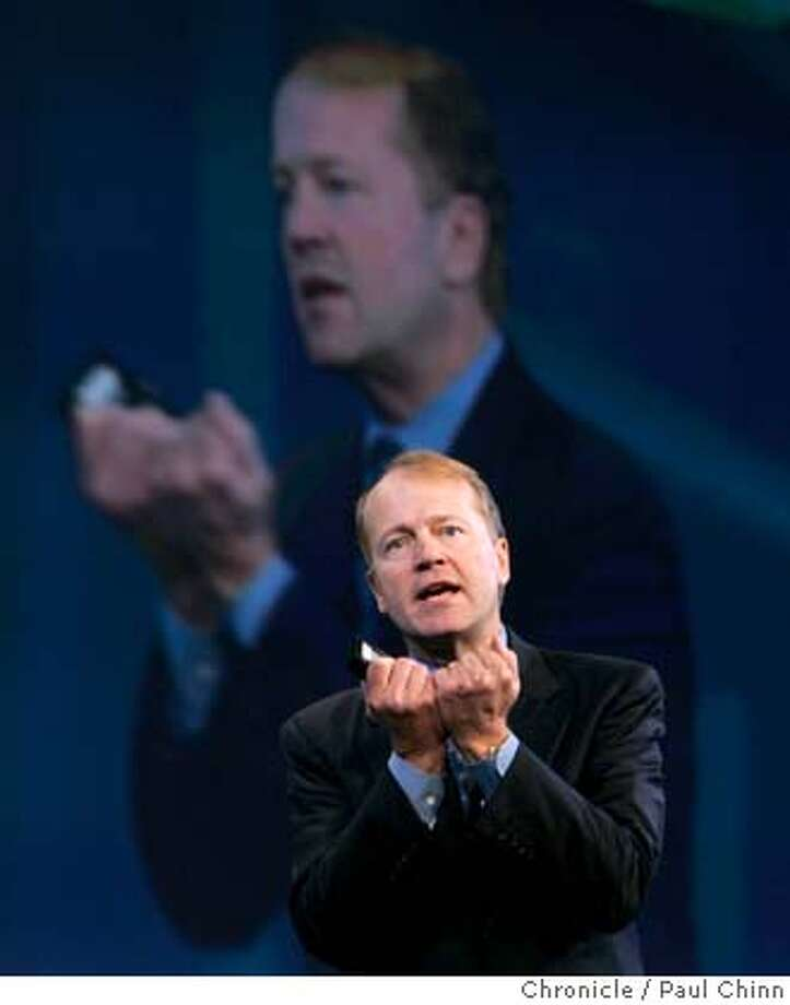 rsa17_137_pc.jpg  John Chambers, president and CEO of Cisco Systems, delivers the keynote address during Tuesday morning's session. The second day of the RSA Conference on information security on 2/16/05 in San Francisco, CA.  PAUL CHINN/The Chronicle MANDATORY CREDIT FOR PHOTOG AND S.F. CHRONICLE/ - MAGS OUT Photo: PAUL CHINN
