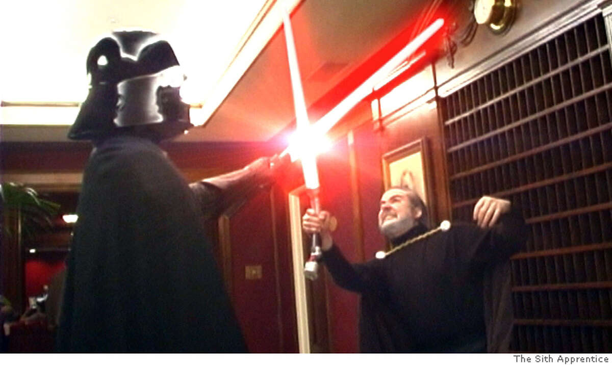 """Scene from the fan movie, """"The Sith Apprentice,"""" which spoofs Star Wars and the Apprentice. In this image, Vader is engaged in a light saber duel. Credit: The Sith Apprentice"""