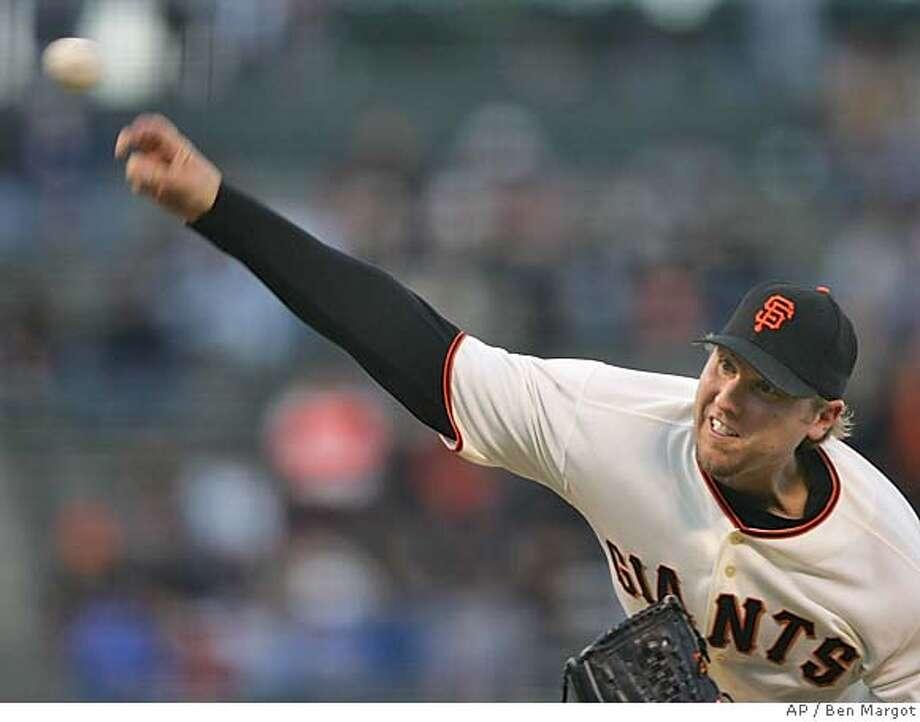 San Francisco Giants' Brett Tomko releases a pitch to the Pittsburgh Pirates in the first inning Monday, May 9, 2005, in San Francisco. (AP Photo/Ben Margot) Photo: BEN MARGOT