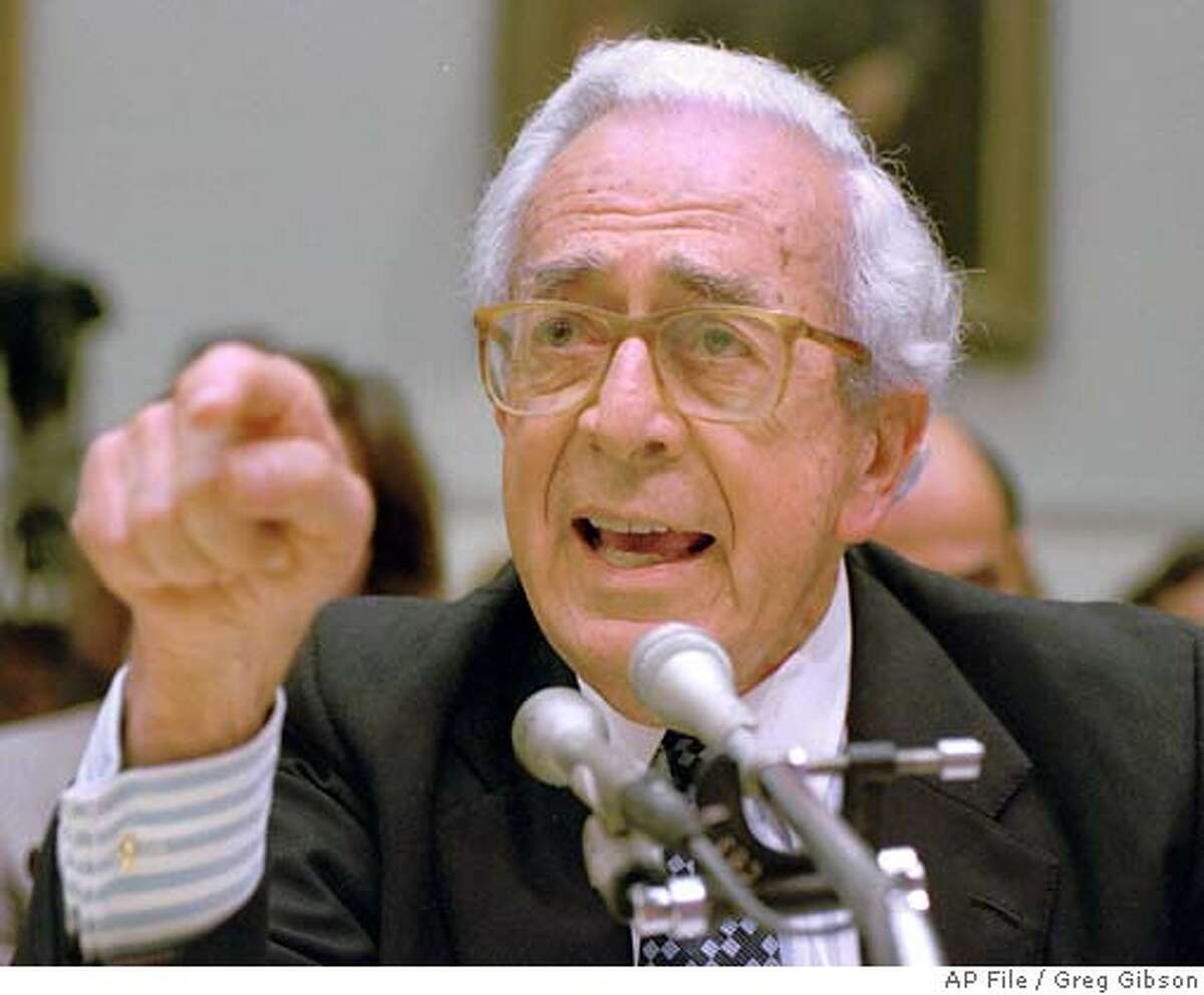 White House Counsel gestures while testifying on Capitol Hill Tuesday, July 26, 1994, before the House Banking Committee which was holding hearings on Whitewater. Cutler offered point-by-point defense of contacts between aides to President Clinton and banking regulators about a failed Arkansas savings and loan. (AP Photo/Greg Gibson)