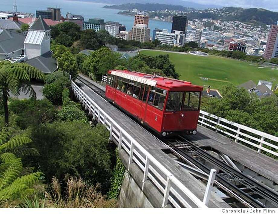 "TRAVEL WELLINGTON -- Wellington's famous ""cable car"" actually a funicular -- climbs to the hilltop Botanical Gardens. Credit: John Flinn Photo: John Flinn"