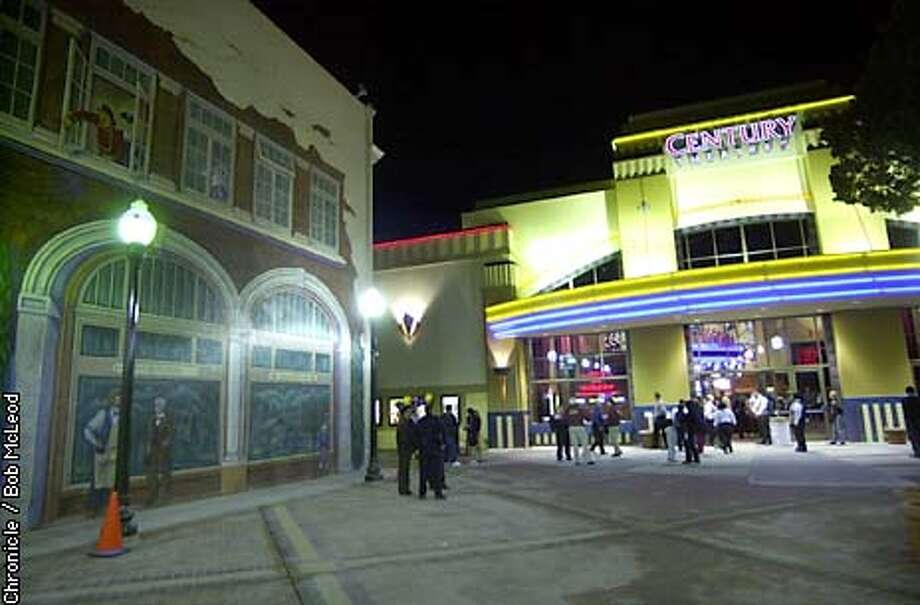 photos inside and out of the new New Century Theatre in San Mateo. ps. it is a Megaplex. the theatre is set back from the street, and the building on the left has murals painted on it.  chronicle photo by Bob McLeod Photo: Bob Mcleod