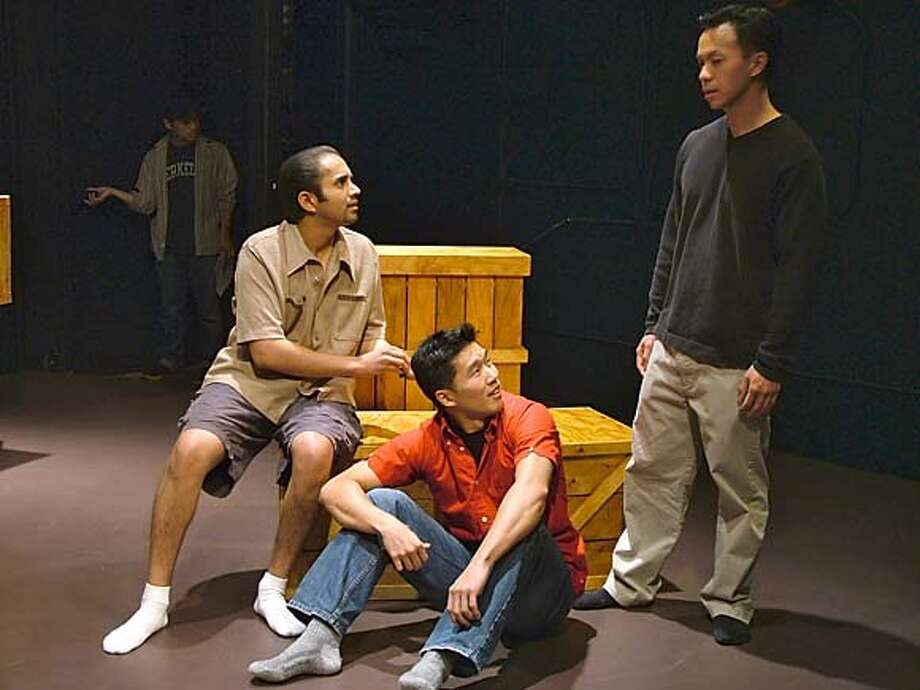 STAGE16d.JPG (L to R) Biraj Lala, as Bobby, Fred Chen, as Ted and Wilton Yeung, as Jim, in RENTAL CAR. / HANDOUT Datebook#Datebook#Chronicle#11/16/2004##Advance##0422457109