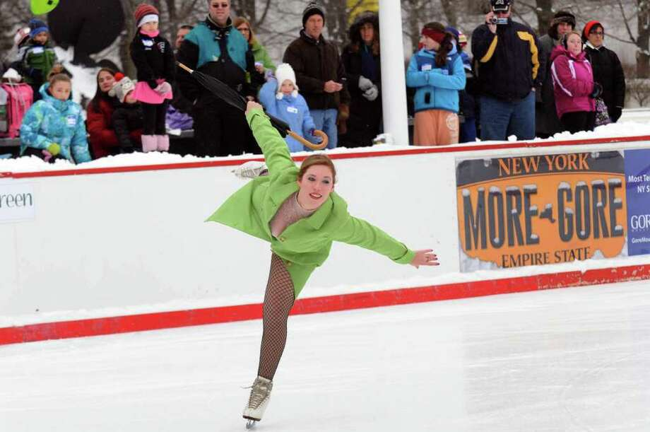 Alex Southhard  puts on a figure skating exhibition as part of a Skatefest at the Empire State Plaza ice rink at the Capitol in Albany,Saturday Jan.21, 2012. ( Michael P. Farrell/Times Union) Photo: Michael P. Farrell