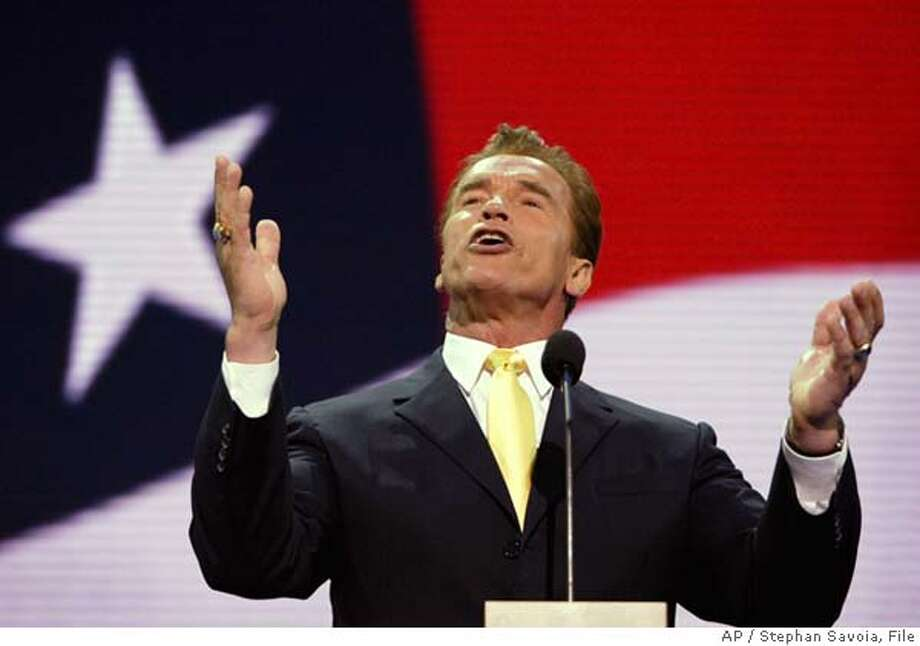 ** ADVANCE FOR SUNDAY NOV. 14 ** FILE ** California Gov. Arnold Schwarzenegger speaks at the Republican National Convention, Aug. 31, 2004, in New York. A year after Schwarzenegger became the state's 38th governor, the actor-turned-politician remains a phenomenon unlike any seen before in Sacramento. (AP Photo/Stephan Savoia, File) Photo: STEPHAN SAVOIA