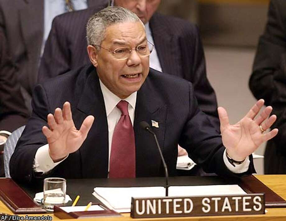 Secretary of State Colin Powell addresses the United Nations Security Council Wednesday, Feb. 5, 2003, at U.N. headquarters. (AP Photo/Elise Amendola) Photo: ELISE AMENDOLA