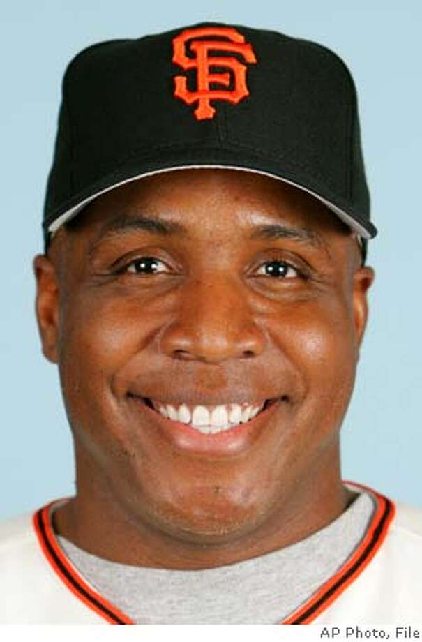 ** FILE ** San Francisco Giants' Barry Bonds is shown in a 2005 photo. Hank Aaron and Babe Ruth are shown in undated photos. Bonds' chase of Babe Ruth and Hank Aaron will have to wait _ and maybe for a while. Two knee operations and baseball's steroids scandal have taken a toll on the San Francisco Giants' slugger, who said he may not play this season. (AP Photo/File) Ran on: 03-31-2005