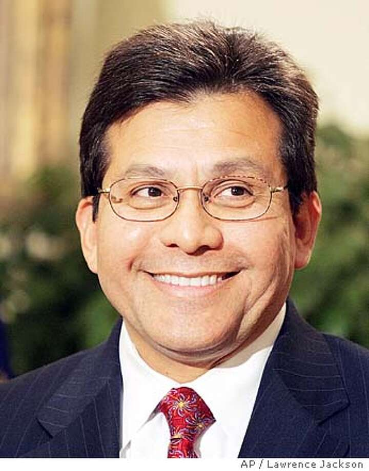 White House counsel Alberto Gonzales smiles as President Bush announced that he was his choice to succeed Attorney General John Ashcroft, in the Roosevelt Room of the White House, Wednesday, Nov. 10, 2004 in Washington. Gonzales, is a Texas confidant and the most prominent Hispanic in the administration. (AP Photo/Lawrence Jackson) Insight#Insight#Chronicle#11/14/2004##2star##0422460249 Photo: LAWRENCE JACKSON