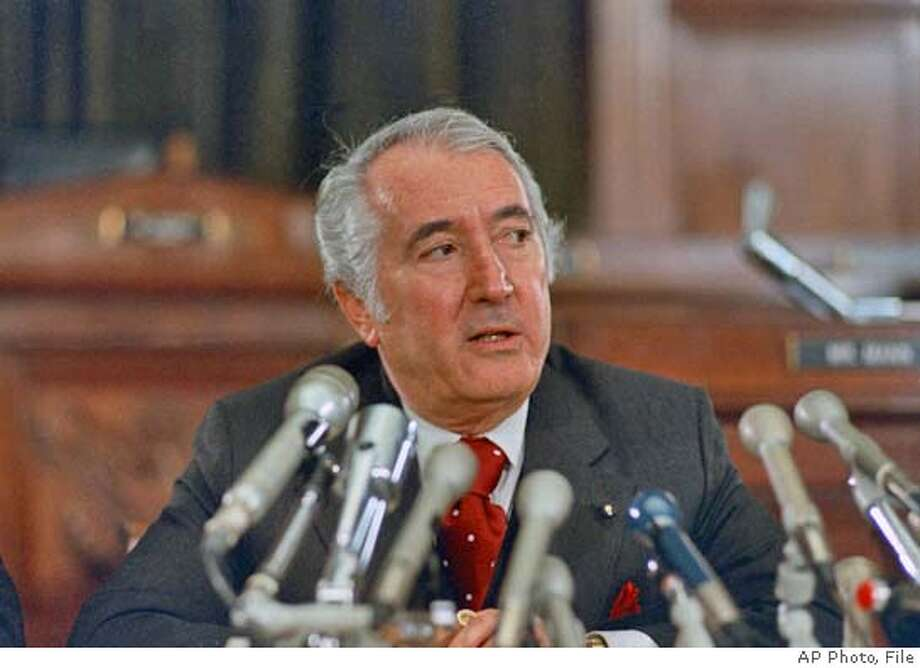 ** FILE ** Rep. Peter Rodino, chairman of the House Judiciary Committee, is shown in a 1979 Washington D.C. file photo. Rodino, a little-noticed Democratic congressman until he led the House impeachment investigation of President Richard M. Nixon, has died. He was 96. (AP Photo/File) UNDATED FILE PHOTO