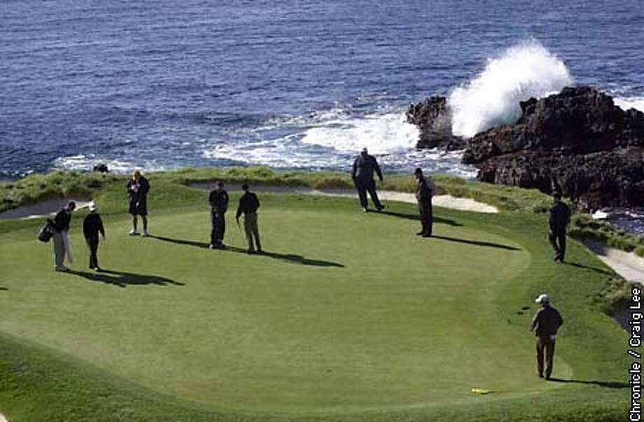 The AT&T Golf Tournament at Pebble Beach in Carmel. A scenic of the 7th green at Pebble Beach. Mike Weir and Wayne Gretzky were part of this group.  Photo by Craig Lee/San Francisco Chronicle Photo: CRAIG LEE