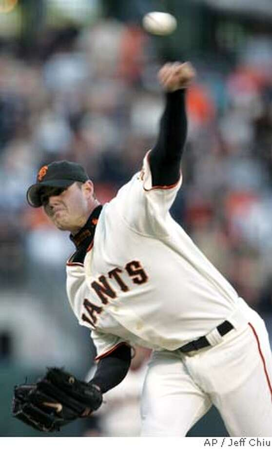 San Francisco Giants' Noah Lowry pitches against the Washington Nationals in the first inning in San Francisco on Friday, May 6, 2005. (AP Photo/Jeff Chiu) Photo: JEFF CHIU