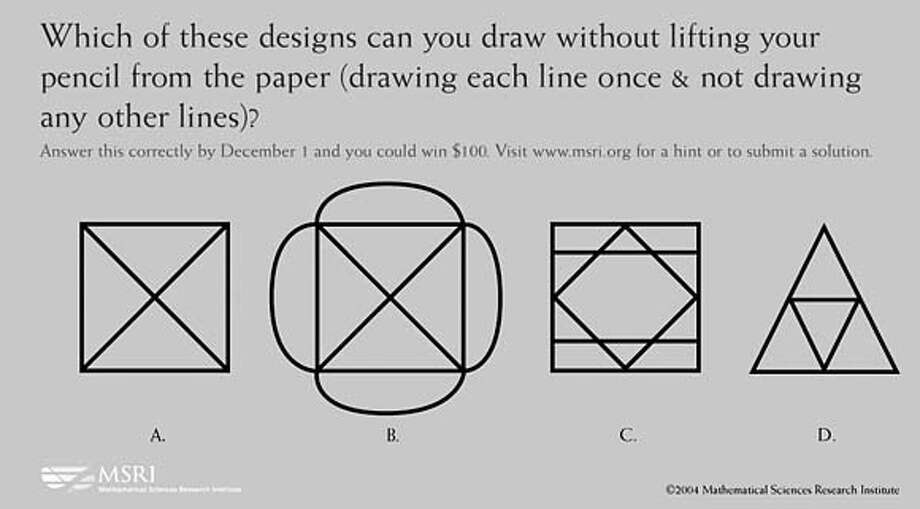 Muni math puzzle for November. Which of these designs can you draw without lifting your pencil from the paper (drawing each line once and not drawing any other lines?)