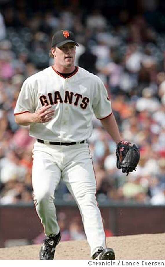 GIANTS_ #38 Jim Brower watches the lead fade away with a line drive down the first baseline in the 9th inning. By Lance Iversen/San Francisco Chronicle Photo: LANCE IVERSEN