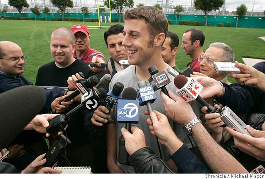 49ers_679_mac.jpg Niners QB- Alex Smith meets the press following practice. San Francisco 49ers hold their first mandatory mini-camp of the season. Chance to see new players, coach Mike Nolan at work. 5/6/05 Santa Clara, Ca Michael Macor / San Francisco Chronicle Mandatory Credit for Photographer and San Francisco Chronicle/ - Magazine Out Photo: Michael Macor