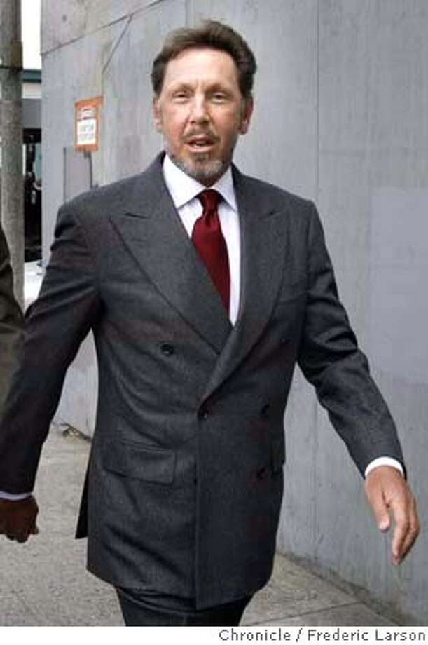 ; CEO Larry Ellison of Oracle enters the San Francisco Federal Court House on Turk Street to testify for the on going Oracle antitrust case.  6/30/04  San Francisco Chronicle Frederic Larson Photo: Frederic Larson