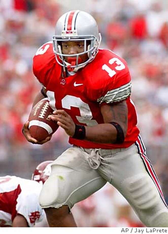 ** FOR USE AS DESIRED WITH NFL DRAFT STORIES ** FILE ** Ohio State tailback Maurice Clarett runs to the end zone against Washington State in this Sept. 14, 2002 photo, in Columbus, Ohio. (AP Photo/Jay LaPrete) ALSO RAN: 09-03-2004 (5=Star) A Sept. 14, 2002 file photo Sports#Sports#Chronicle#11/11/2004#ALL#5star##0421732138 Photo: JAY LAPRETE