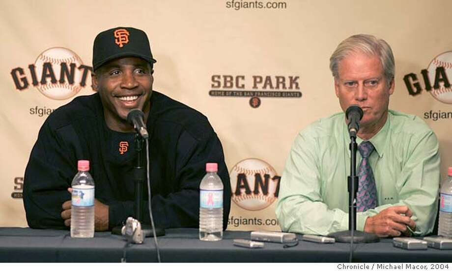 giants038_mac.jpg Bonds talks with the media at a press conference to announce the extention. Peter McGowan, President anfd Managing General Partner close by. Barry Bonds extends his contract with the San Francisco Giants through the 2006 baseball season, it was announced today. San Francisco Giants vs. Houston Astros. on 9/21/04. Michael Macor / San Francisco Chronicle Mandatory Credit For Photographer and SF Chronicle/ - Magazines Out Photo: Michael Macor