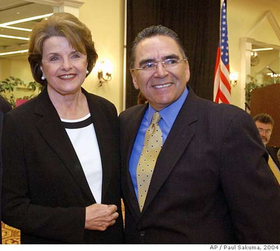 U.S. Sen. Dianne Feinstein, D-Calif., left, smiles with San Jose Mayor Ron Gonzales, right, during a meeting with Silicon Valley business leaders in San Jose, Calif., Wednesday, April 14, 2004 to discuss the flagging local economy, offshore outsourcing of jobs, tax issues and Internet access programs affecting the technology industry. Feinstein also talked about the latest developments in Iraq, the Sept. 11 Commission hearings and the growing federal deficit. (AP Photo/Paul Sakuma) San Jose Mayor Ron Gonzales is urging Washington to keep the BART project on track. ALSO RAN: 07/07/2004 Ran on: 10-10-2004  Dianne Feinstein and Barbara Boxer, right, are powerful U.S. senators from California. Ran on: 10-13-2004  Ron Gonzales Ran on: 01-19-2005  Mayors Gavin Newsom of San Francisco (left) and Ron Gonzales of San Jose and the cities they represent receive $24.4 million and $12.1 million, respectively, in the threatened federal block grant funds. Ran on: 01-19-2005  Mayors Gavin Newsom of San Francisco (left) and Ron Gonzales of San Jose and the cities they represent receive $24.4 million and $12.1 million, respectively, in the threatened federal block grant funds. Ran on: 02-10-2005  San Jose Mayor Ron Gonzales delivered an upbeat State of the City speech. Nation#MainNews#Chronicle#6/8/2004#ALL#5star##0421718306 Photo: PAUL SAKUMA
