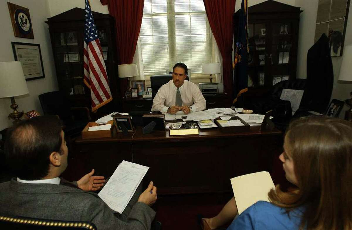 Then-U.S. Rep. John Sweeney during a briefing with his legislative staff in his office at the Capitol in Washington, D.C., in December 2001. (Times Union file photo)