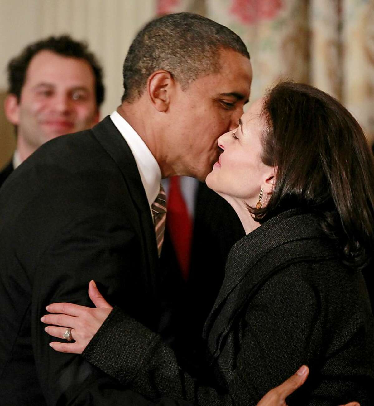 President Barack Obama greets Facebook CEO Sheryl Sandberg, Tuesday, Jan. 17, 2012, in the State Dining Room of the White House in Washington, before meeting with the Council on Jobs and Competitiveness. (AP Photo/Haraz N. Ghanbari)