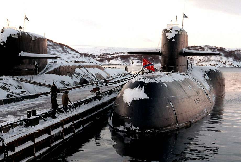 FILE - This Friday, Nov. 24, 1997 file photo shows a decommissioned Russian nuclear submarine at the Arctic base of Severomorsk in Russia's Kola Peninsula. The United States helped Russia ensure the security of ex-Soviet nuclear arsenals after the 1991 collapse of the Soviet Union to prevent them from falling into wrong hands. (AP Photo, File) Photo: Associated Press