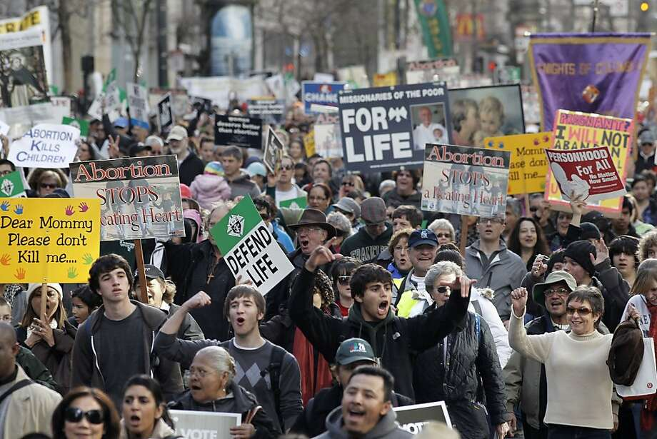 "Thousands fills Market St. during the annual ""Walk for Life"" anti-abortion march and rally in San Francisco, Calif. on Saturday, Jan. 21, 2012. Photo: Michael Macor, SFC"