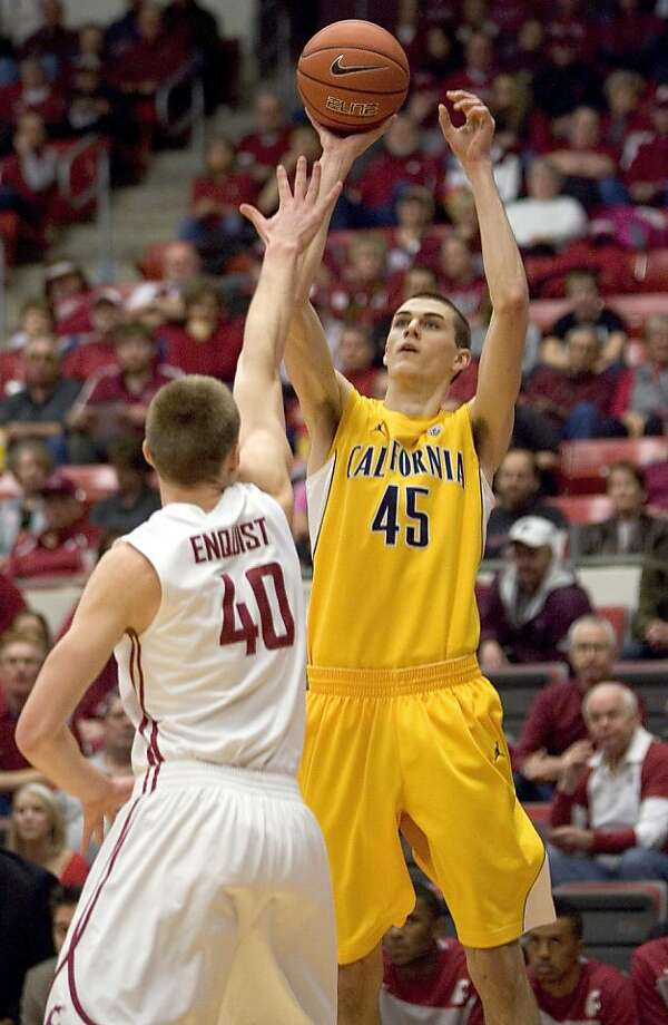 California forward David Kravish (45) shoots over Washington State forward Charlie Enquist (40) during the first half of an NCAA college basketball game on Saturday, Jan. 21, 2012, in Pullman, Wash. Photo: Dean Hare, Associated Press