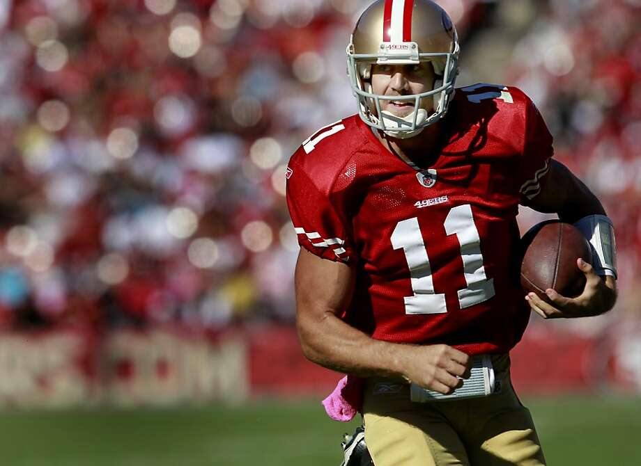 Alex Smith ran for a first down in the first half. The San Francisco 49ers defeated the Cleveland Browns 20-10 at Candlestick Park Sunday October 30, 2011. Photo: Brant Ward, The Chronicle