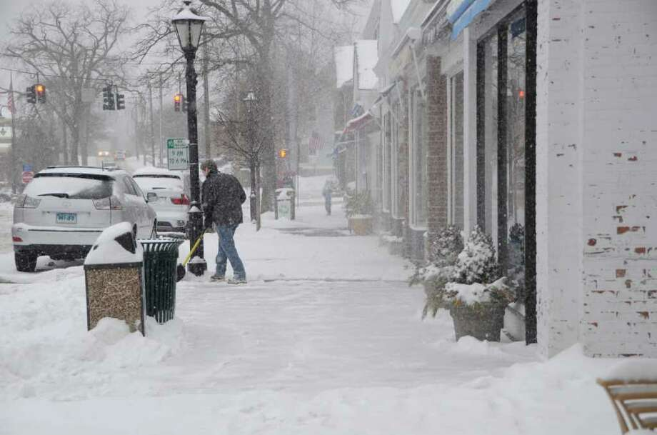 Snow piles up in New Canaan during Saturday's storm, Jan. 21, 2012. Photo: Jeanna Petersen Shepard