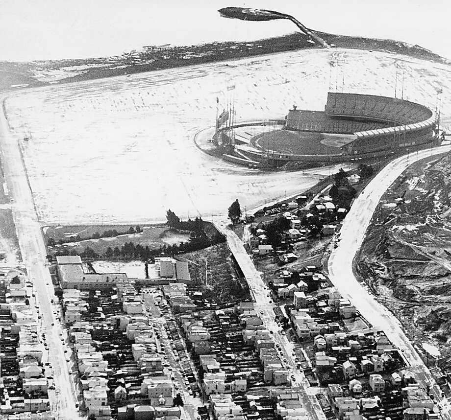 January 21, 1962 - snow at Candlestick Park. Gordon Peters/San Francisco Chronicle Photo: Grodon Peters, The Chronicle 1962