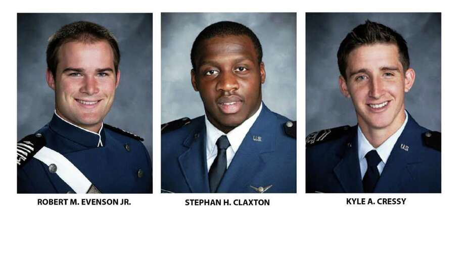 The Air Force Academy provided these undated photos of cadets Robert M. Evenson Jr.,  left, Stephan H. Claxton and Kyle A. Cressy. All are charged with sexual assault and face hearings in the coming weeks. Nine years after a sexual assault scandal at the Air Force Academy sent shock waves across the military, the Defense Department reported a spike in newly reported assaults at the school and the Air Force filed sex-crime charges against the three cadets. Photo: AP