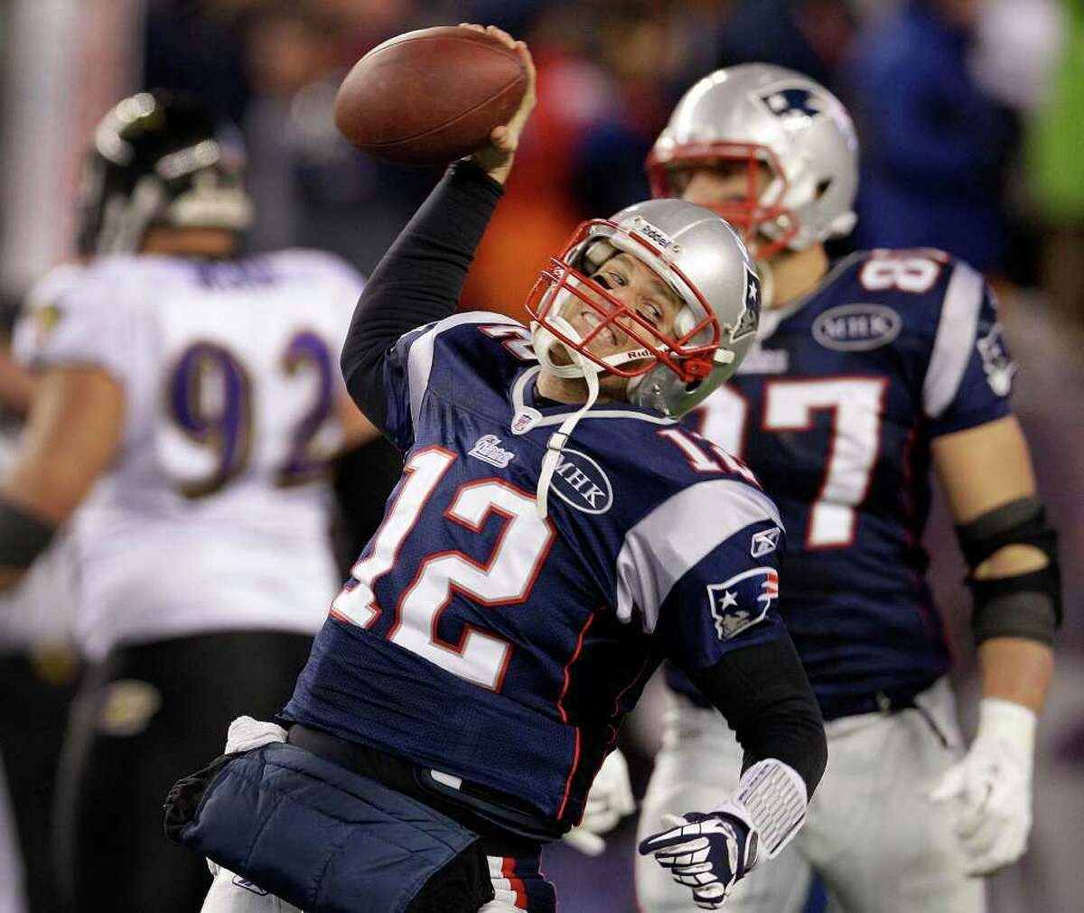 New England Patriots quarterback Tom Brady (12) celebrates after scoring a one yard touchdown during the second half of the AFC Championship NFL football game against the Baltimore Ravens Sunday, Jan. 22, 2012, in Foxborough, Mass. The champion has said he wants his team to be more like the San Antonio Spurs.