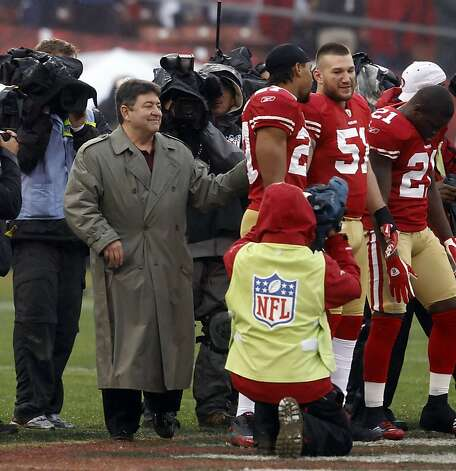Eddie Debartolo is announced as an honorary captain before the game. The San Francisco 49ers played the New York Giants in the NFC Championship game at Candlestick Park in San Francisco, Calif., on Sunday, January 22, 2012. Photo: Brant Ward, The Chronicle