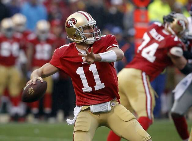 Alex Smith throws in the first quarter. The San Francisco 49ers played the New York Giants in the NFC Championship game at Candlestick Park in San Francisco, Calif., on Sunday, January 22, 2012. Photo: Brant Ward, The Chronicle