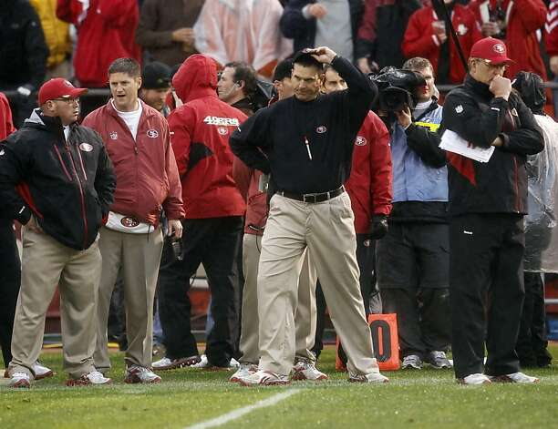Jim Harbaugh on the sidelines in the first quarter. The San Francisco 49ers played the New York Giants in the NFC Championship game at Candlestick Park in San Francisco, Calif., on Sunday, January 22, 2012. Photo: Brant Ward, The Chronicle