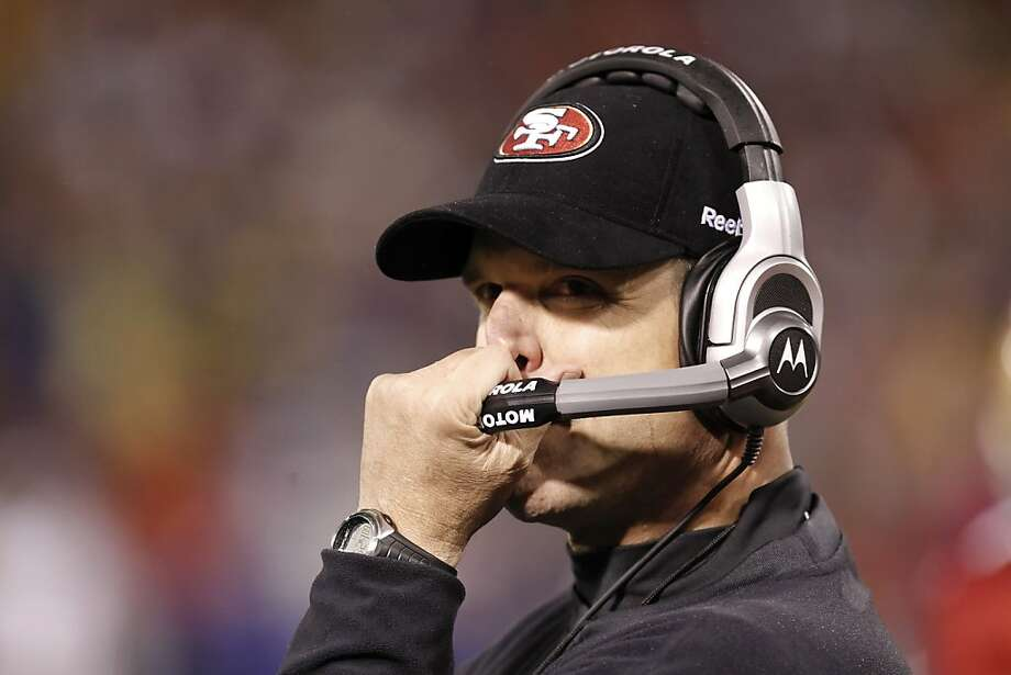 49ers coach Jim Harbaugh reacts during the second half of Sunday's game. The San Francisco 49ers played the New York Giants in the NFC Championship game at Candlestick Park in San Francisco, Calif., on Sunday, January 22, 2012. Photo: Michael Macor, The Chronicle