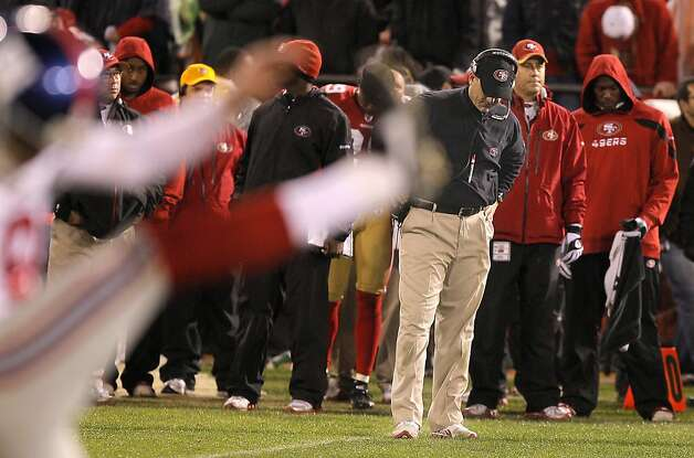 49ers coach Jim Harbaugh looks dejected right before the Giants winning field goal during the San Francisco 49ers vs. the New York Giants in the Championship Playoff game at Candlestick Park in San Francisco, Calif., on Sunday, January 22nd, 2012. Photo: John Storey, Special To The Chronicle